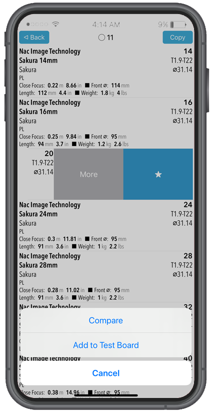 LENSER Screenshot - Compare or Add to Test Board